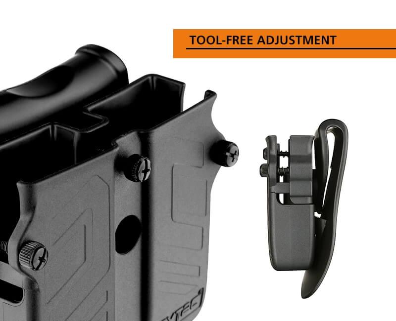 Universal Double Magazine Tool-free adjustment