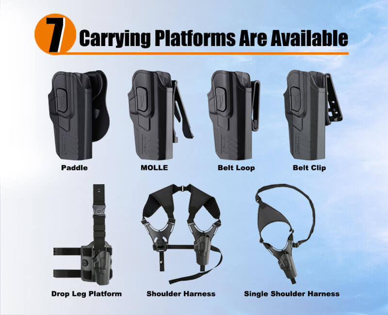 Paddle|Belt Clip|Belt Loop|MOLLE Attachment|Drop Leg Platform|Shoulder Harness